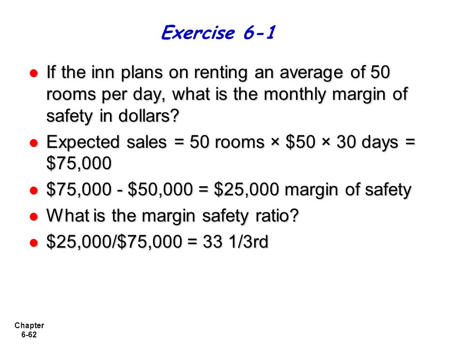Exercise 6-1 If the inn plans on renting an average of 50 rooms per day, what is the monthly margin of safety in dollars
