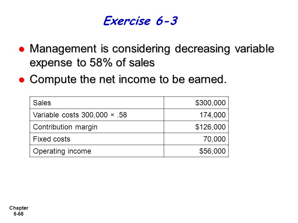 Management is considering decreasing variable expense to 58% of sales