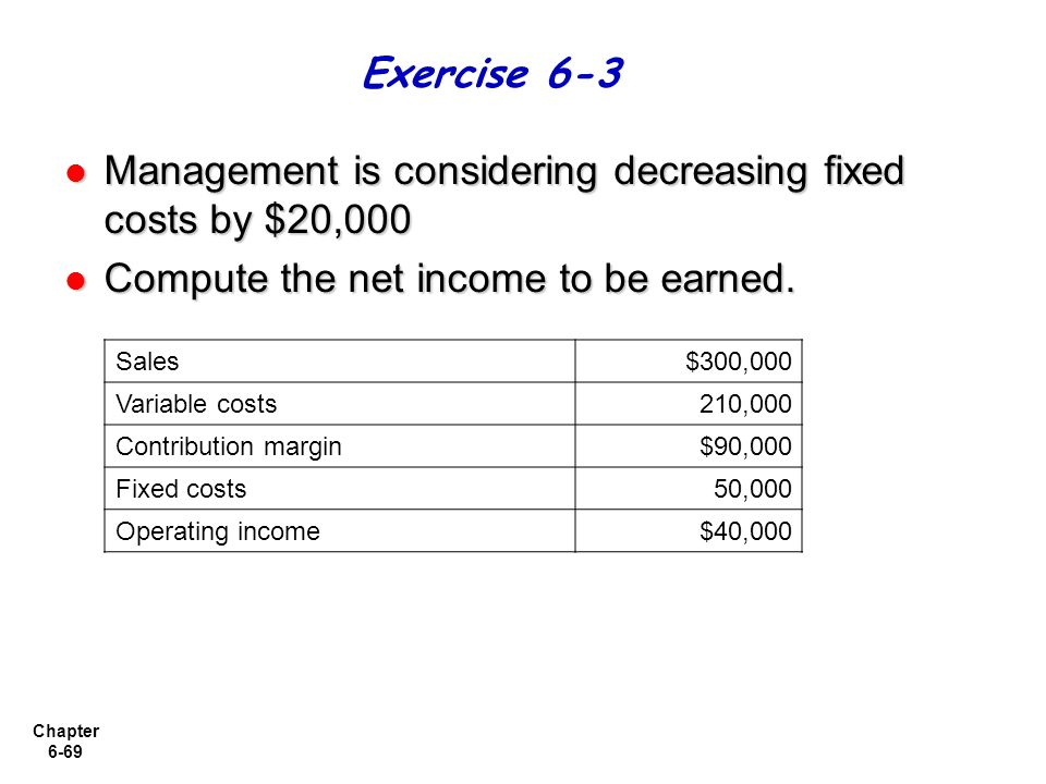 Management is considering decreasing fixed costs by $20,000