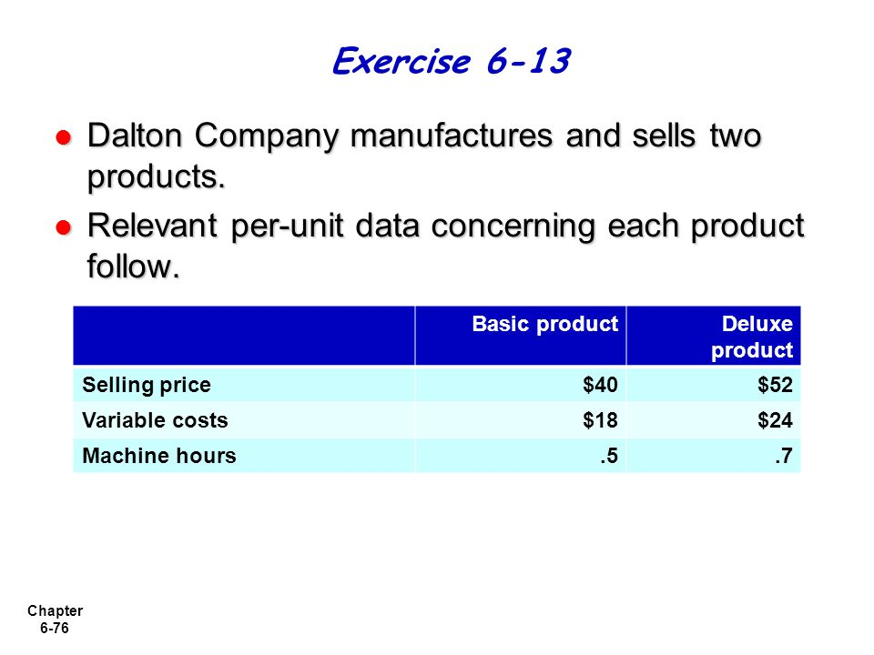 Dalton Company manufactures and sells two products.