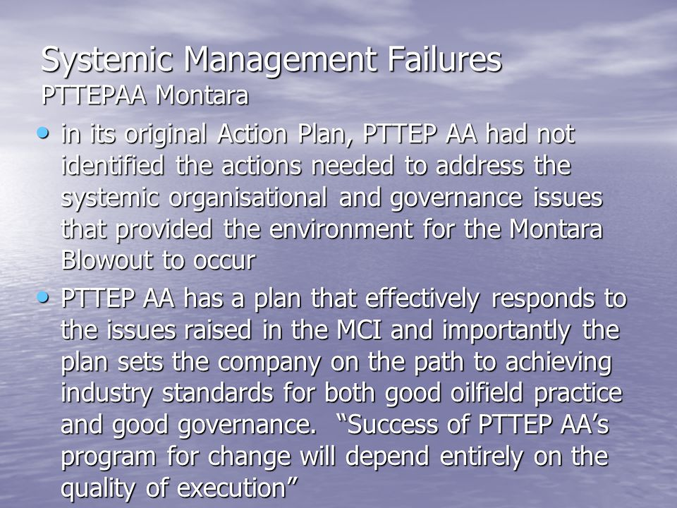Systemic Management Failures PTTEPAA Montara