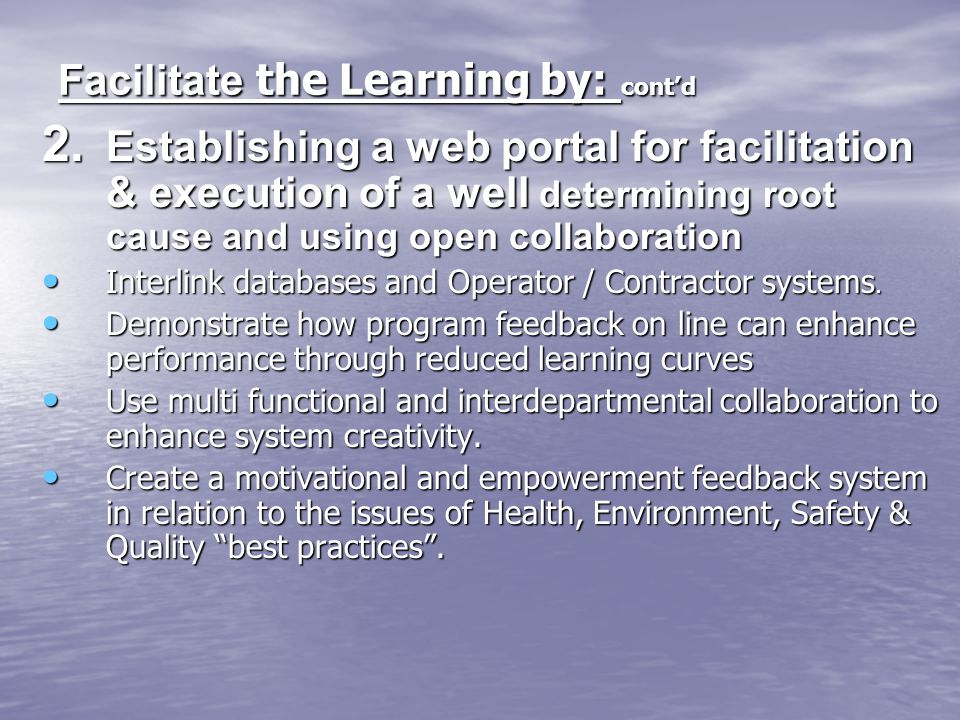Facilitate the Learning by: cont'd
