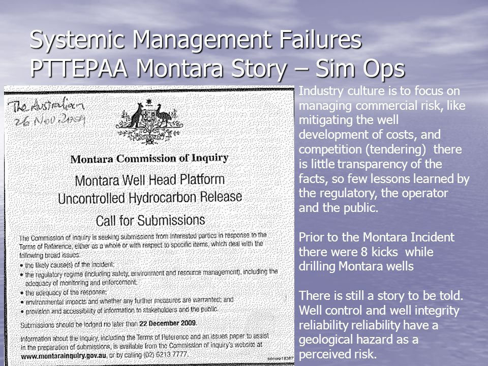 Systemic Management Failures PTTEPAA Montara Story – Sim Ops