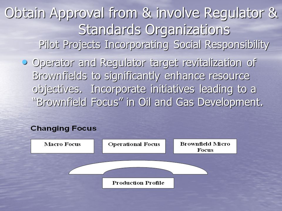 Obtain Approval from & involve Regulator & Standards Organizations Pilot Projects Incorporating Social Responsibility