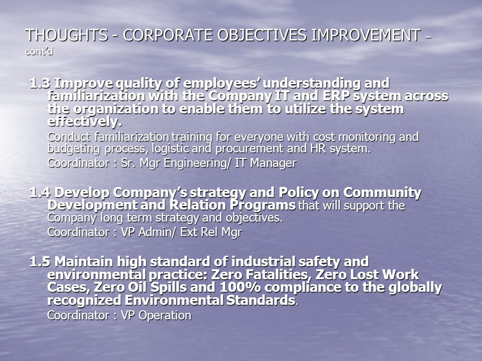 THOUGHTS - CORPORATE OBJECTIVES IMPROVEMENT – cont'd
