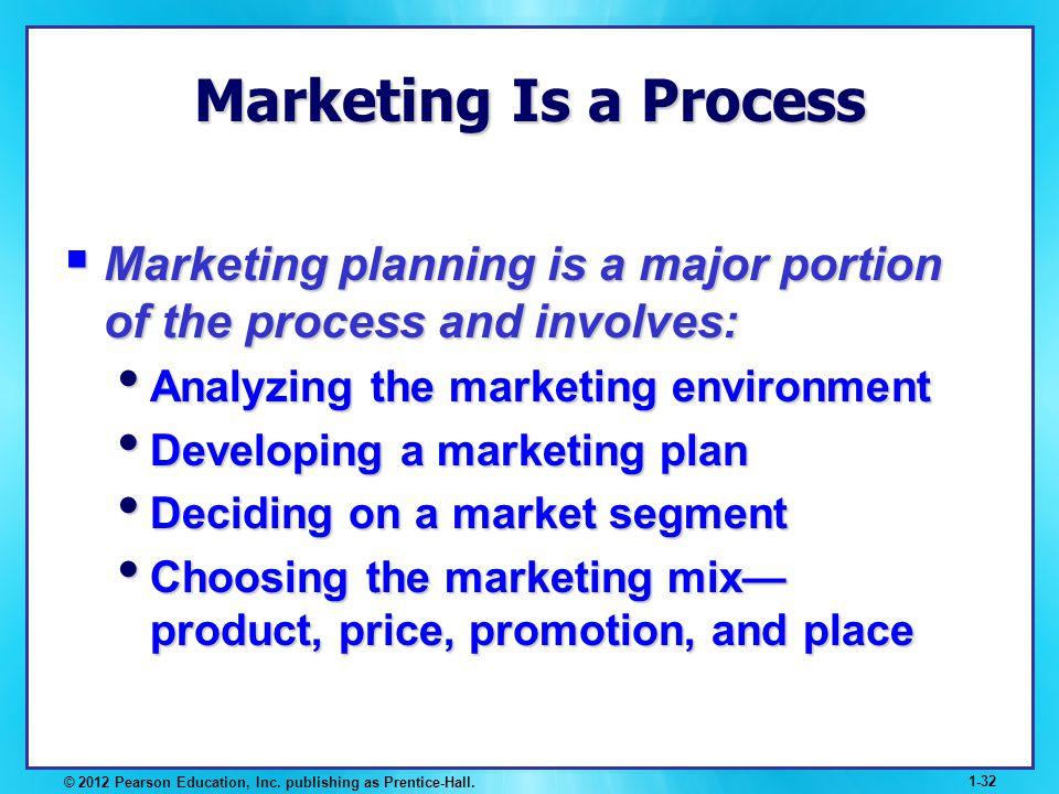 Marketing Is a Process Marketing planning is a major portion of the process and involves: Analyzing the marketing environment.