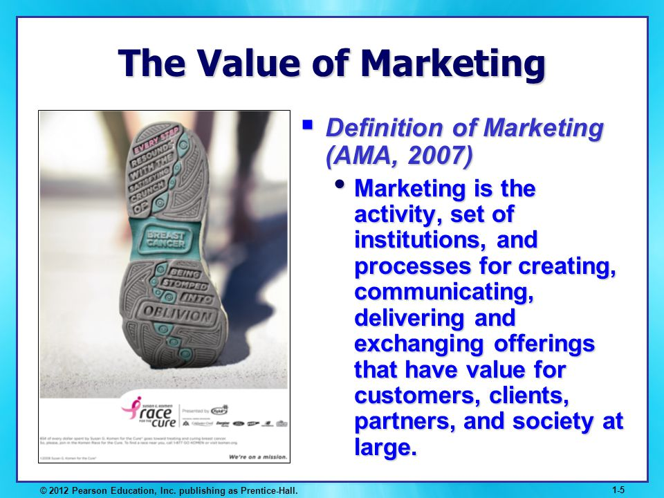 The Value of Marketing Definition of Marketing (AMA, 2007)