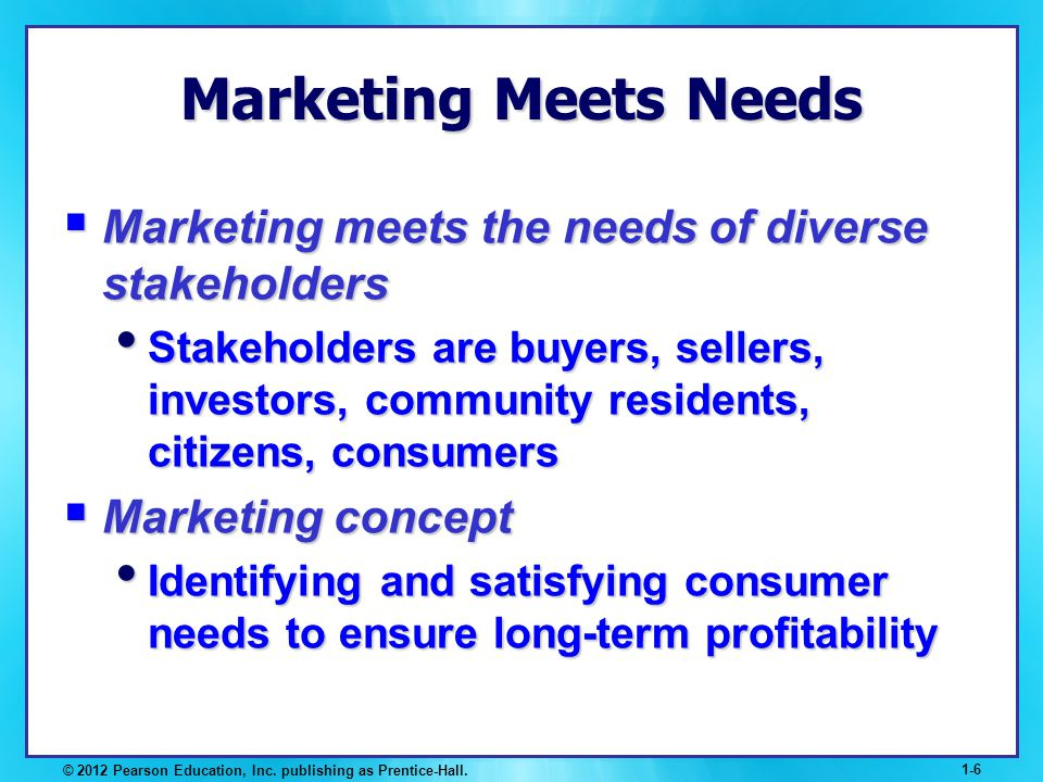 Marketing Meets Needs Marketing meets the needs of diverse stakeholders.