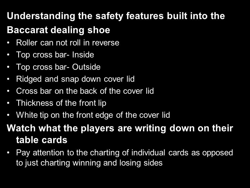 Understanding the safety features built into the Baccarat dealing shoe