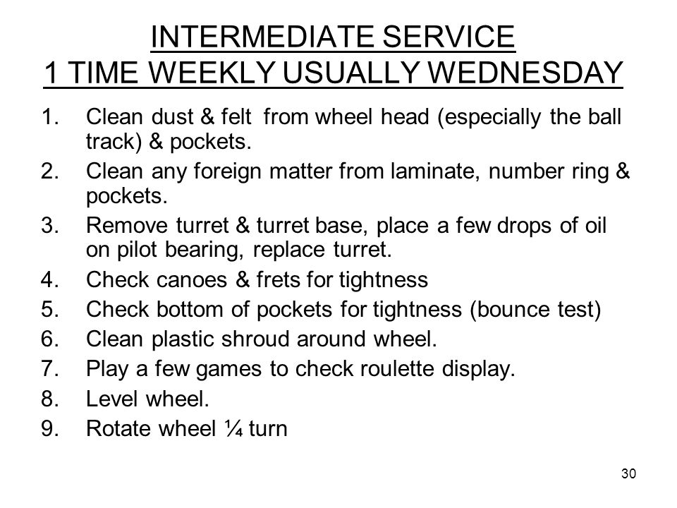 INTERMEDIATE SERVICE 1 TIME WEEKLY USUALLY WEDNESDAY