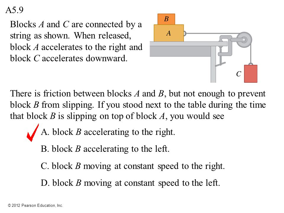 A5.9 Blocks A and C are connected by a string as shown. When released, block A accelerates to the right and block C accelerates downward.