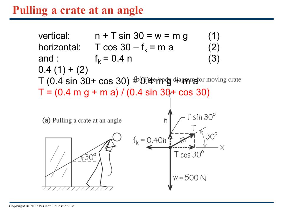 Pulling a crate at an angle