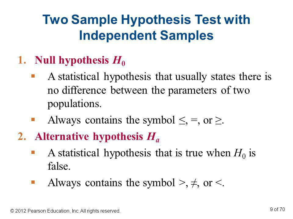 Two Sample Hypothesis Test with Independent Samples