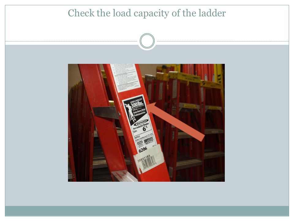 Check the load capacity of the ladder