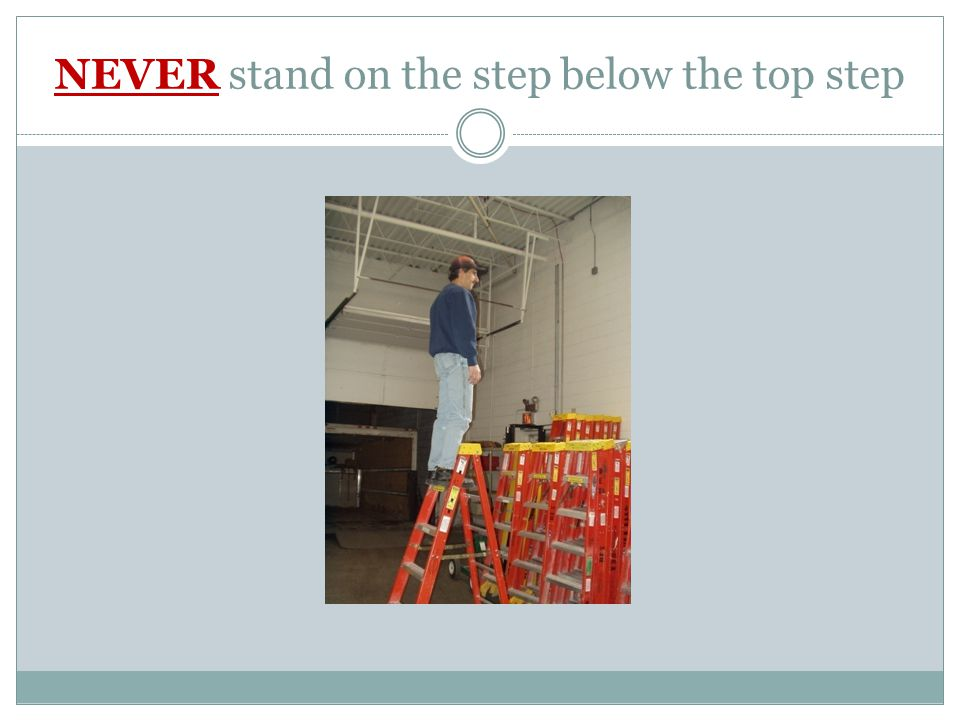 NEVER stand on the step below the top step