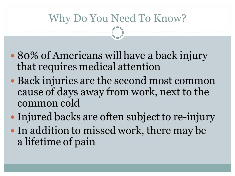 Why Do You Need To Know 80% of Americans will have a back injury that requires medical attention.