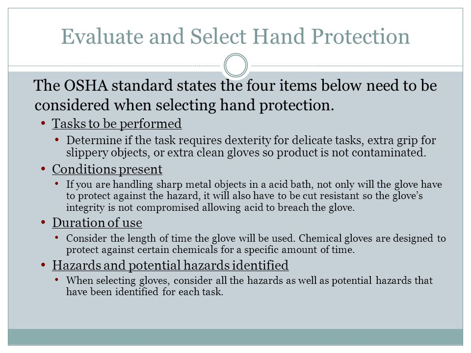 Evaluate and Select Hand Protection