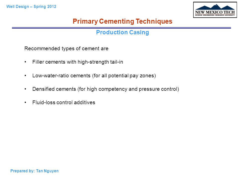 Primary Cementing Techniques