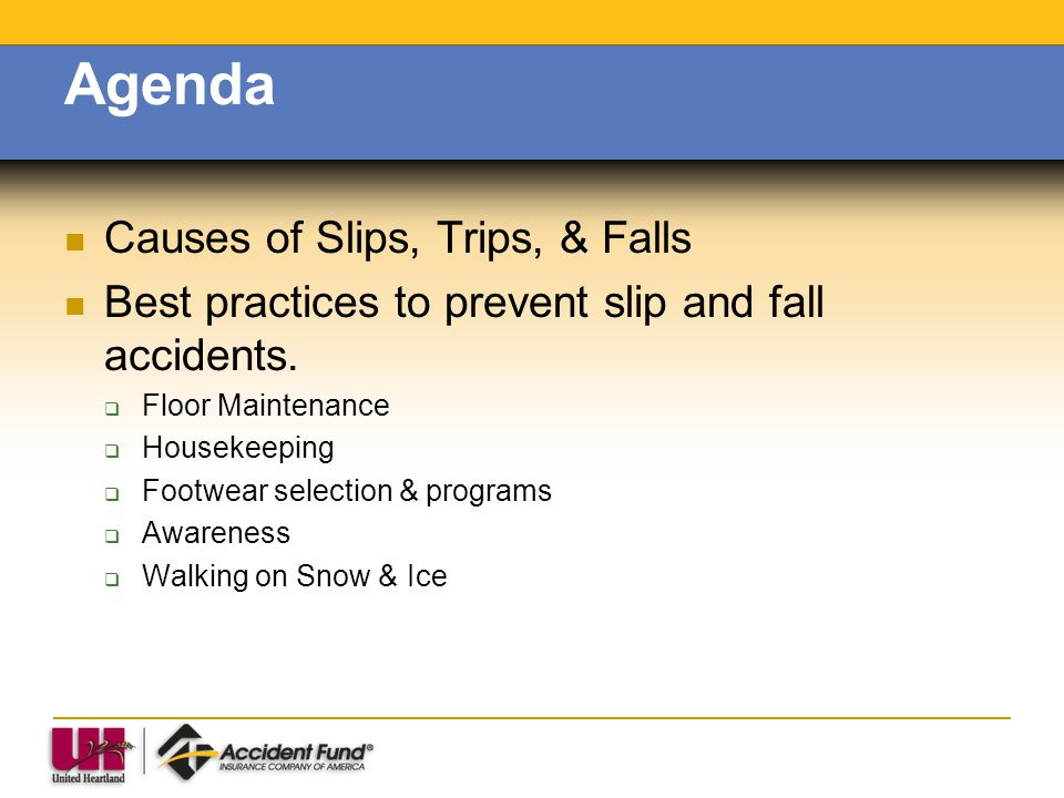 Agenda Causes of Slips, Trips, & Falls