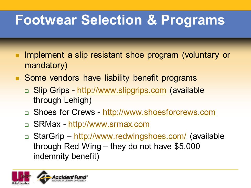 Footwear Selection & Programs