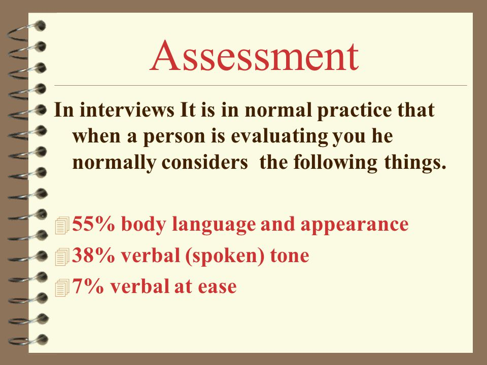 Assessment In interviews It is in normal practice that when a person is evaluating you he normally considers the following things.