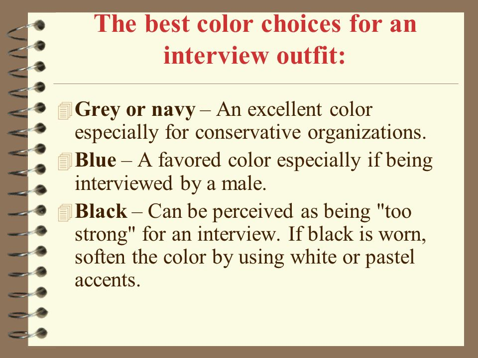 The best color choices for an interview outfit: