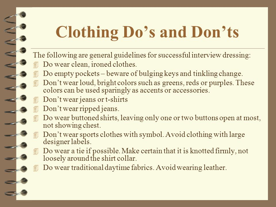 Clothing Do's and Don'ts