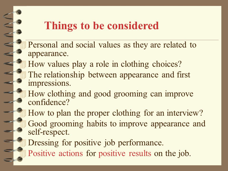Things to be considered