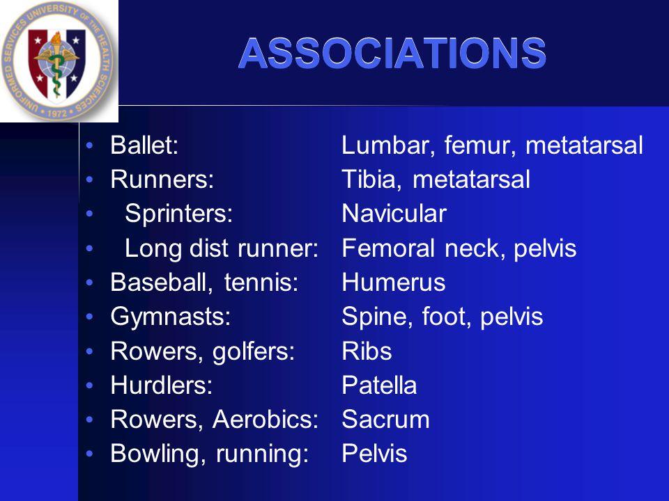 ASSOCIATIONS Ballet: Runners: Sprinters: Long dist runner: