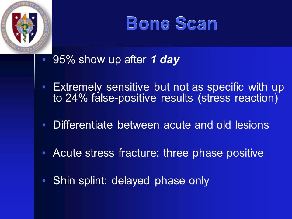 Bone Scan 95% show up after 1 day