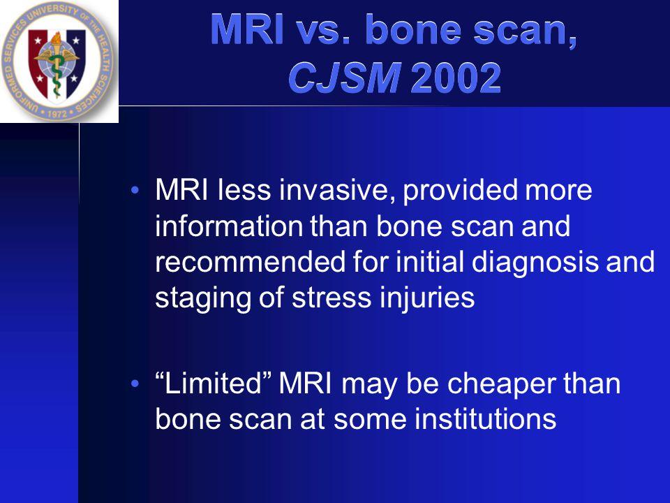 MRI vs. bone scan, CJSM 2002