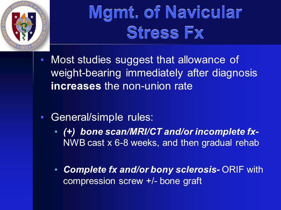Mgmt. of Navicular Stress Fx