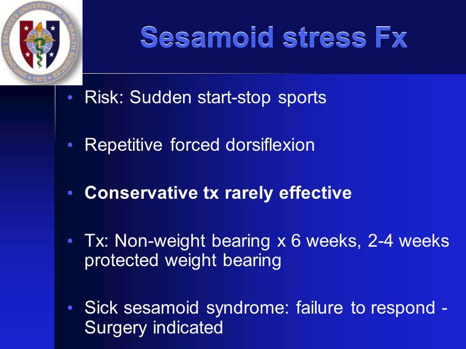 Sesamoid stress Fx Risk: Sudden start-stop sports