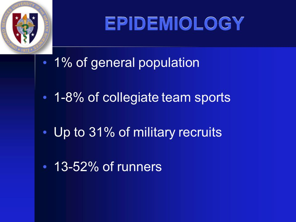 EPIDEMIOLOGY 1% of general population 1-8% of collegiate team sports