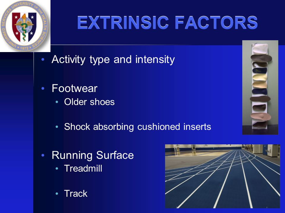EXTRINSIC FACTORS Activity type and intensity Footwear Running Surface