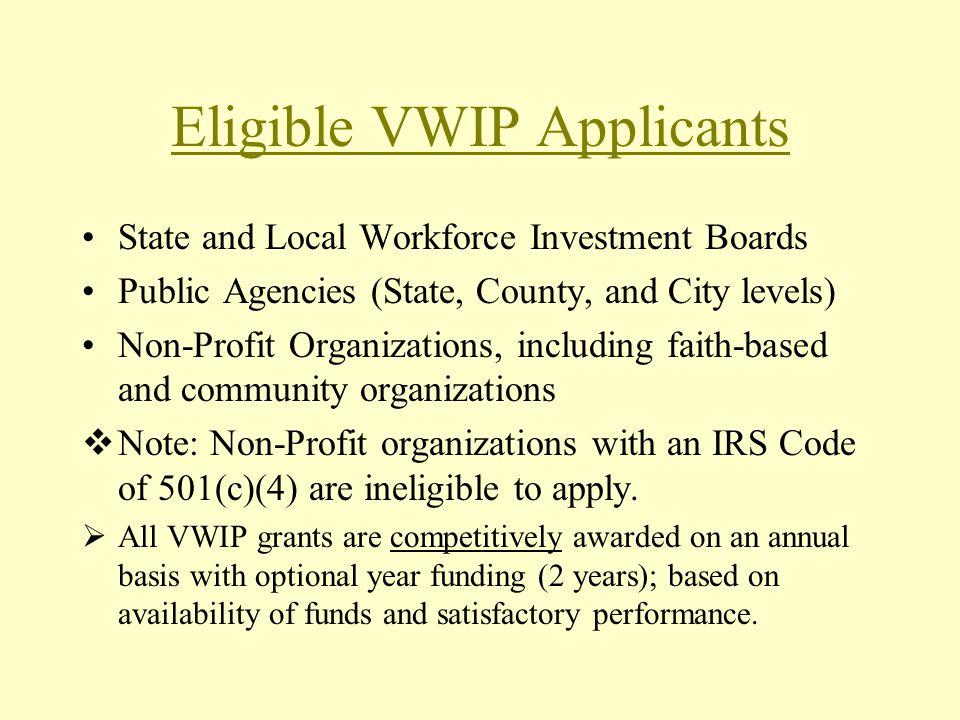 Eligible VWIP Applicants