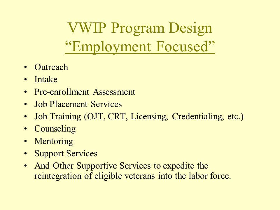 VWIP Program Design Employment Focused