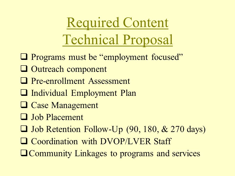 Required Content Technical Proposal