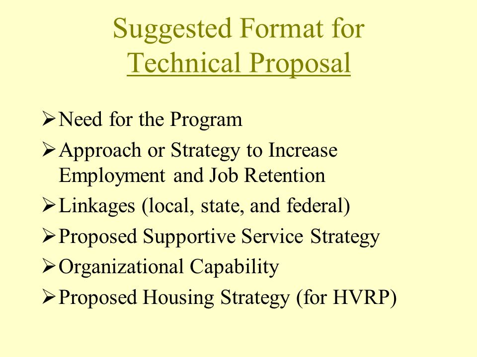 Suggested Format for Technical Proposal