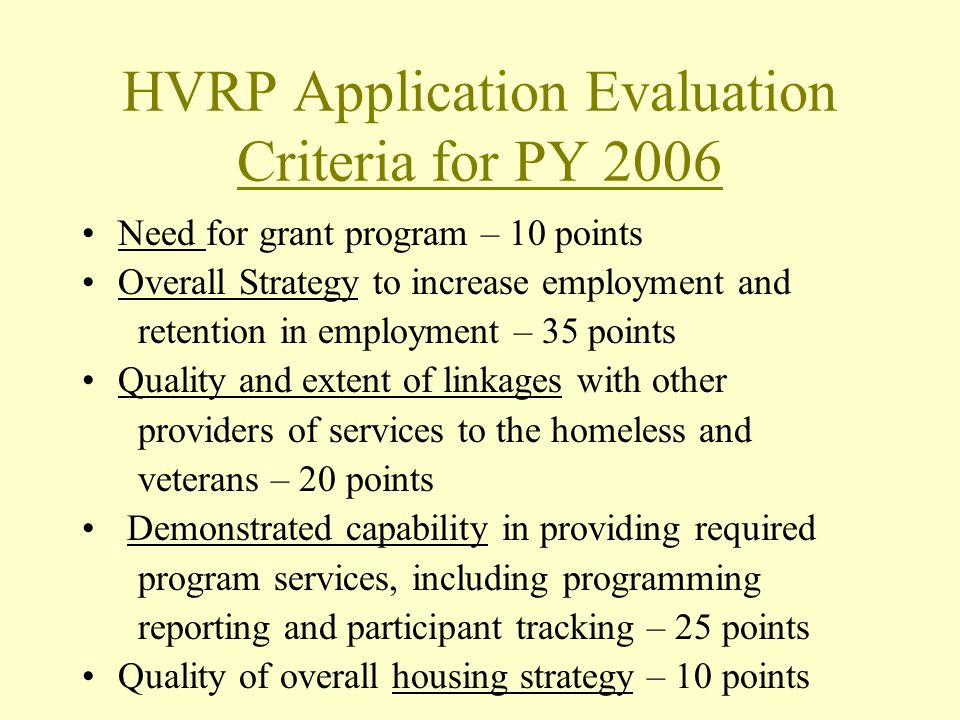 HVRP Application Evaluation Criteria for PY 2006