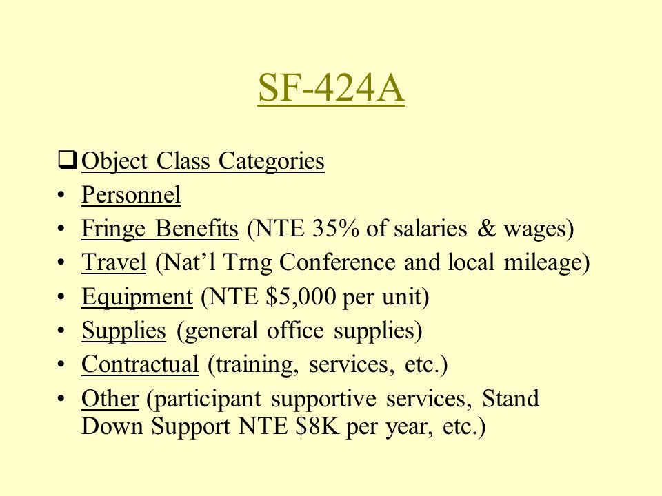 SF-424A Object Class Categories Personnel