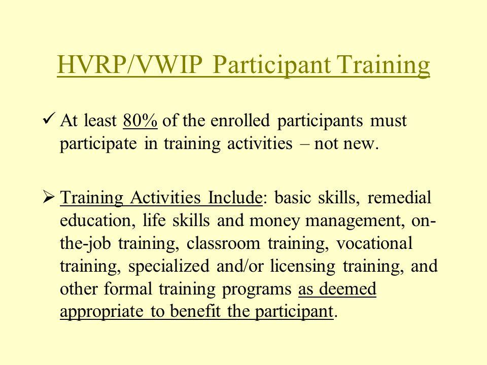 HVRP/VWIP Participant Training