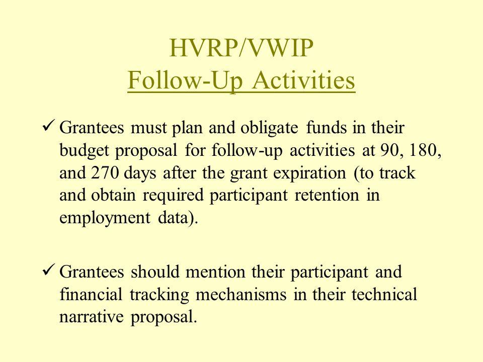 HVRP/VWIP Follow-Up Activities