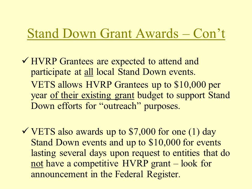 Stand Down Grant Awards – Con't