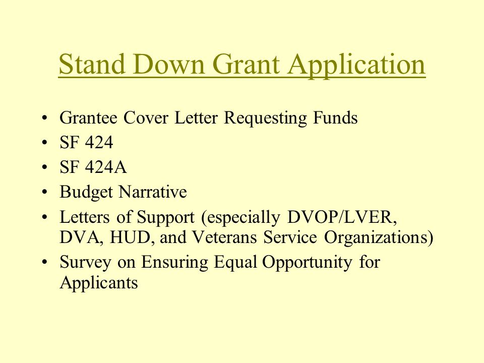Stand Down Grant Application