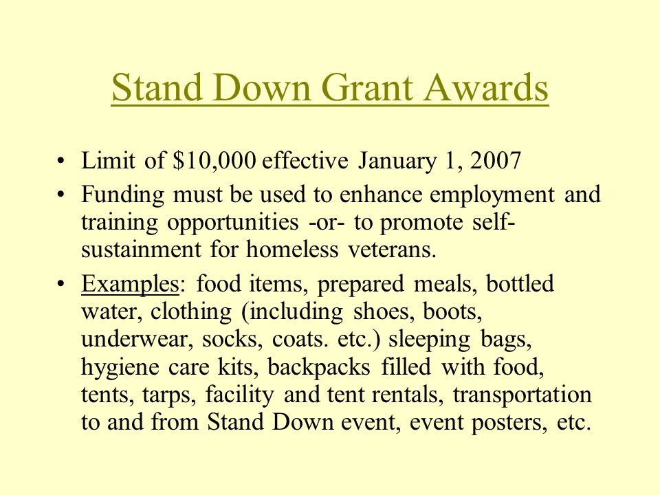 Stand Down Grant Awards