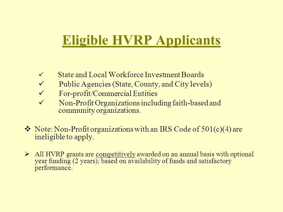 Eligible HVRP Applicants