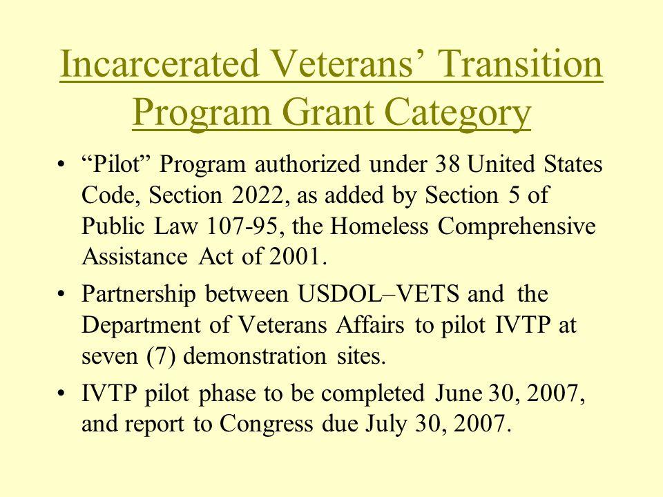 Incarcerated Veterans' Transition Program Grant Category