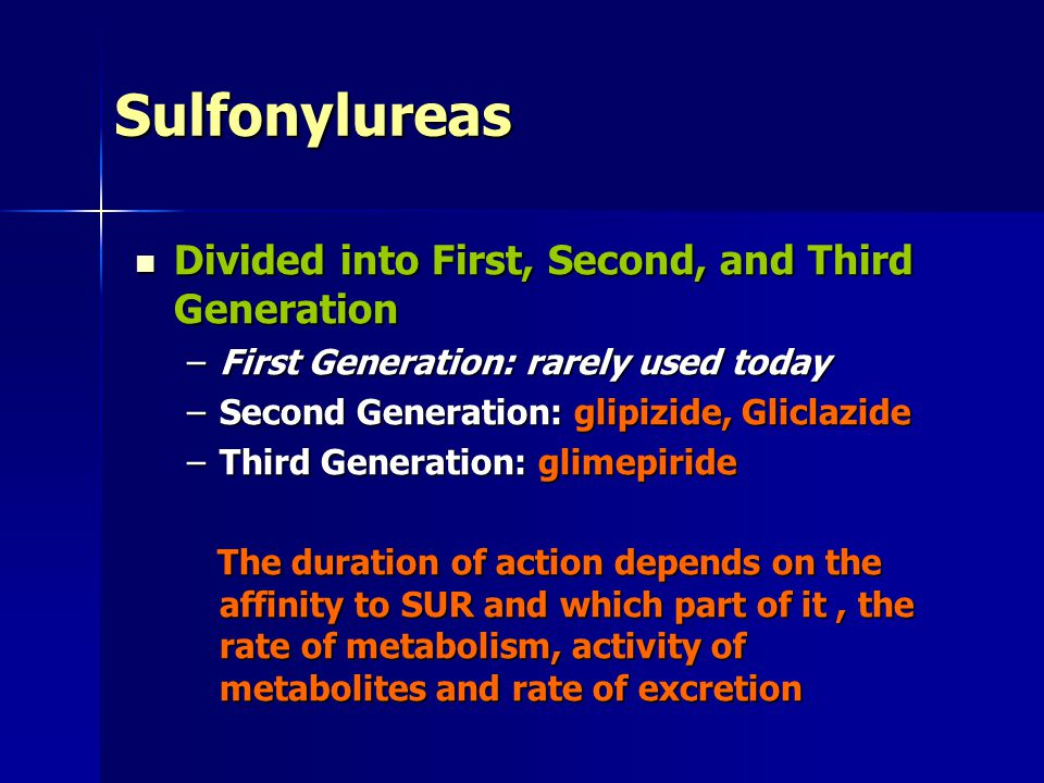 Sulfonylureas Divided into First, Second, and Third Generation