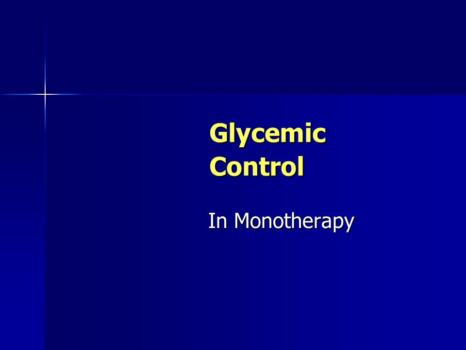 Glycemic Control In Monotherapy